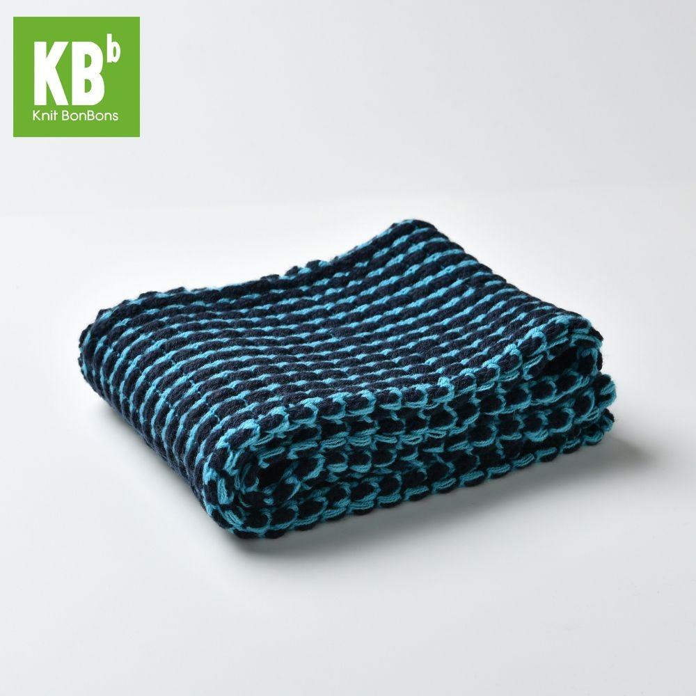 KBB Navy Blue & Turquoise Stripe Design Neck Warmer Snood (3 Snoods/Lot)