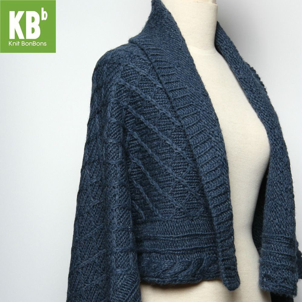 KBB Soft Acrylic Navy Blue Braided Top Shawl Wrap (3 Shawls/Lot)