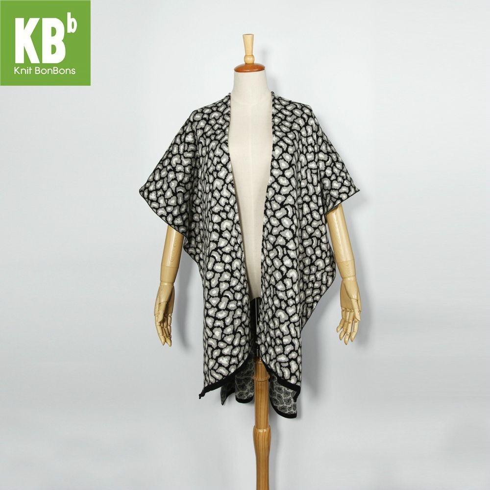 KBB Soft Acrylic Black Leopard Print Knitted Top Shawl Wrap (3 Shawls/Lot)