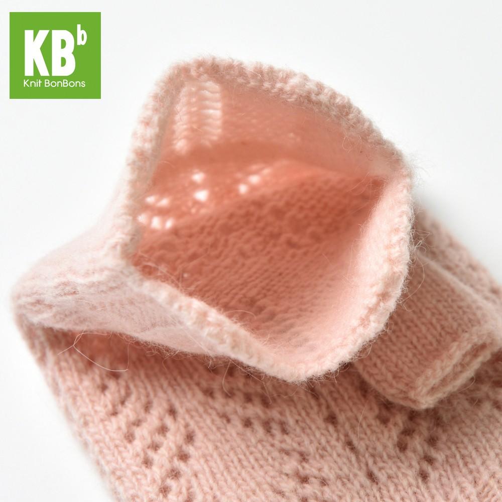 KBB Soft Pink V-Diamond Design Winter Fingerless Gloves (3 Gloves/Lot)