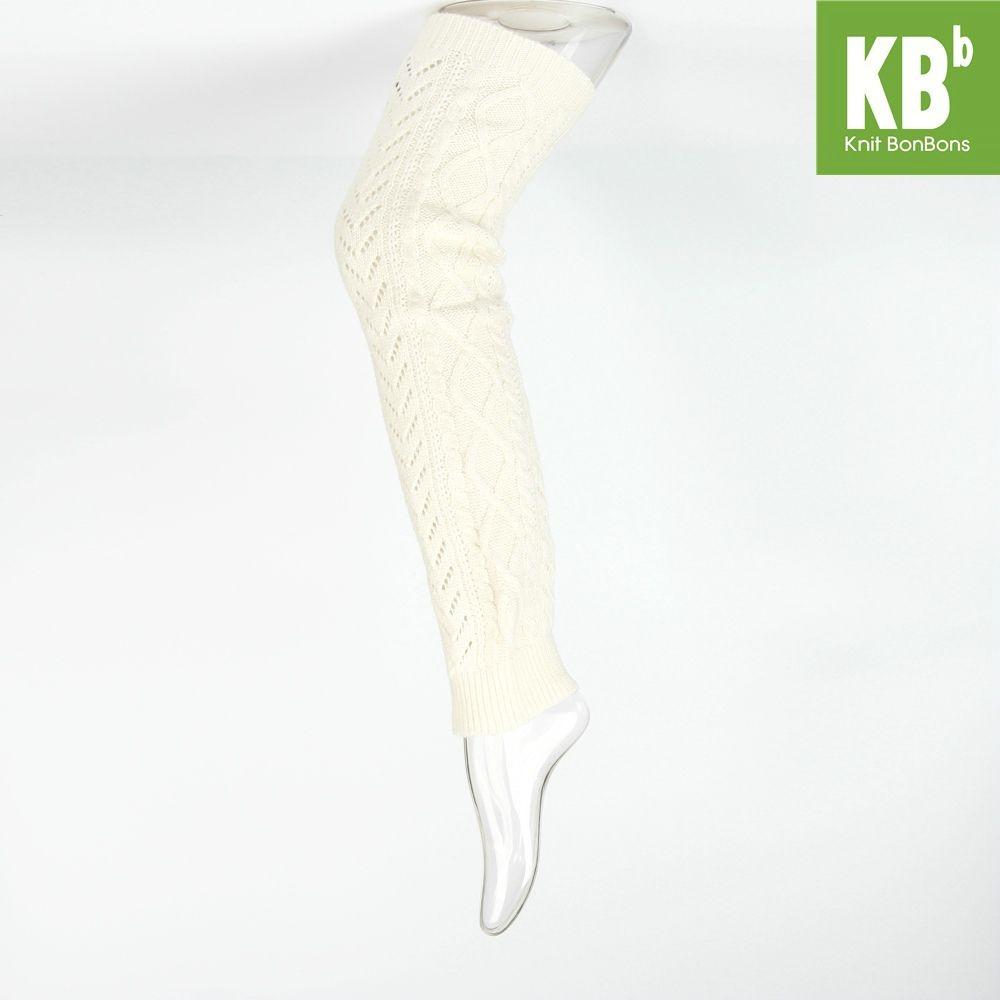 KBB Soft Acrylic Viscose Nylon Cable Knit Cream Leg Warmers (3 Leg Warmers/Lot)