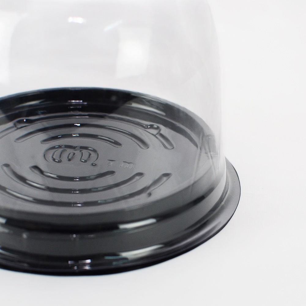 Clear Dome Black Base Plastic Cupcake Container Pods (300 Containers/Lot)