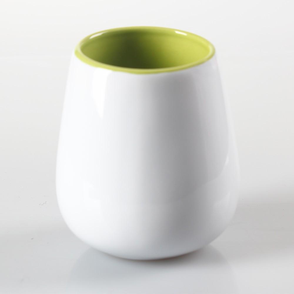 Flow Green Inner Colored White Ceramic Round Mug (6 Mugs/Lot)