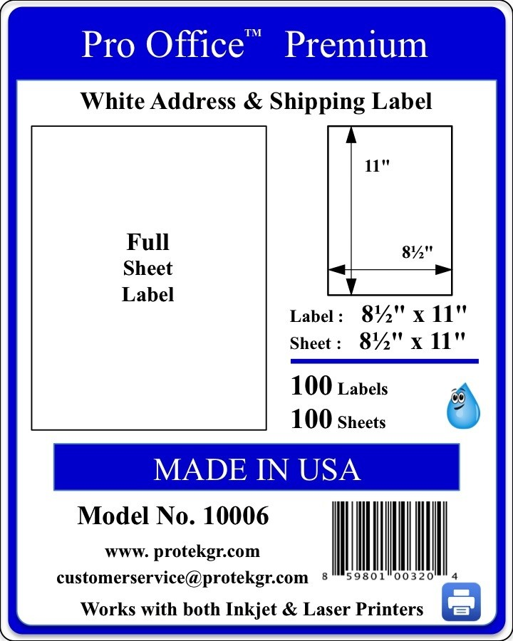 Pro Office 8.5 X 11 Premium Self Adhesive Shipping/Address Labels (100 labels/Pack)