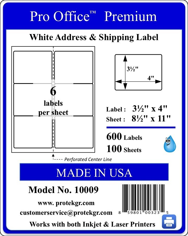 Pro Office 3.33 X 4.0  Premium Self Adhesive Shipping/Address Labels(600 labels/Pack)