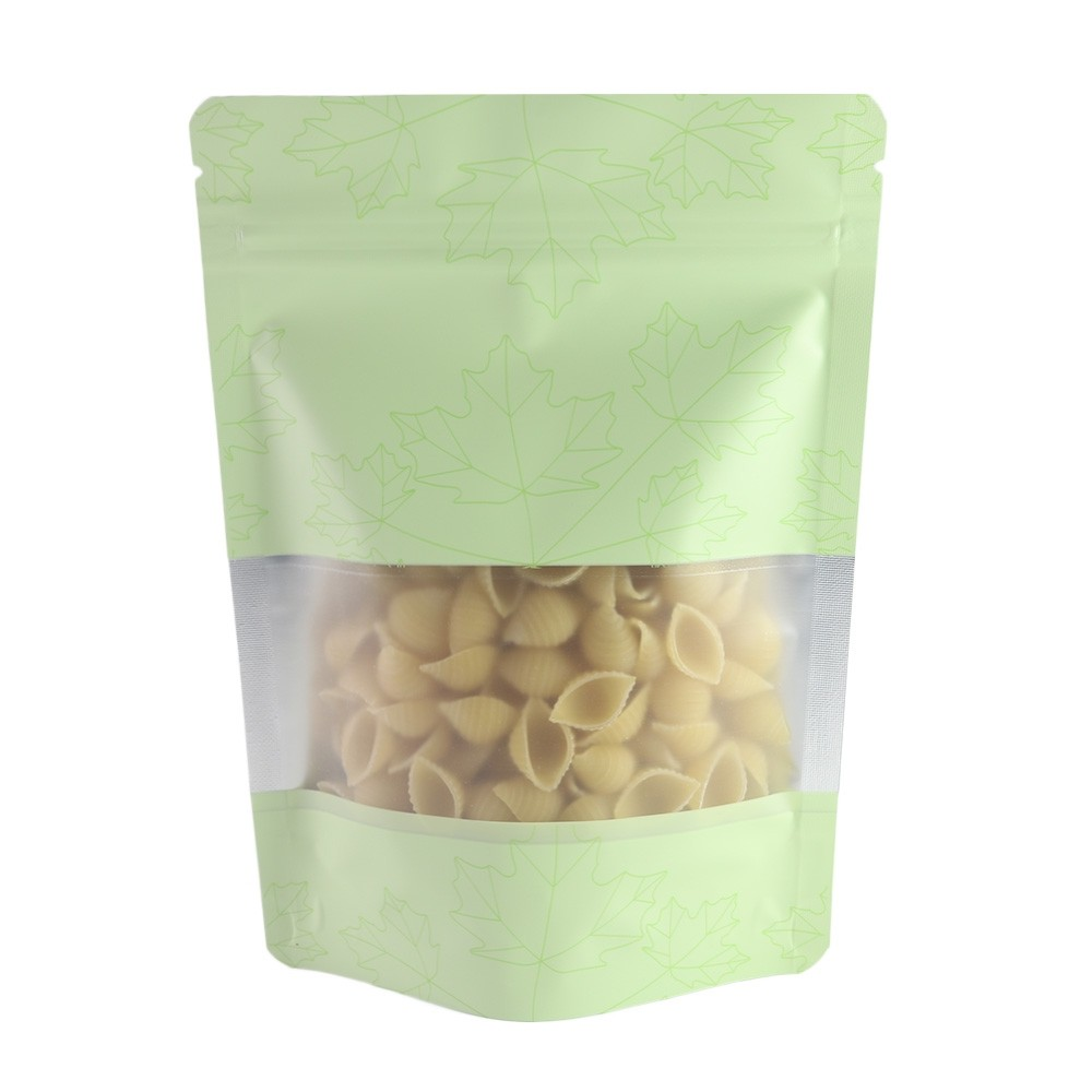 Matte Green Frosted Window Stand-Up Ziplock Bags w/ Maple Leaves Design 16 cm x 23 cm [6.3 inches x 9.1 inches] (500 Bags/Lot)