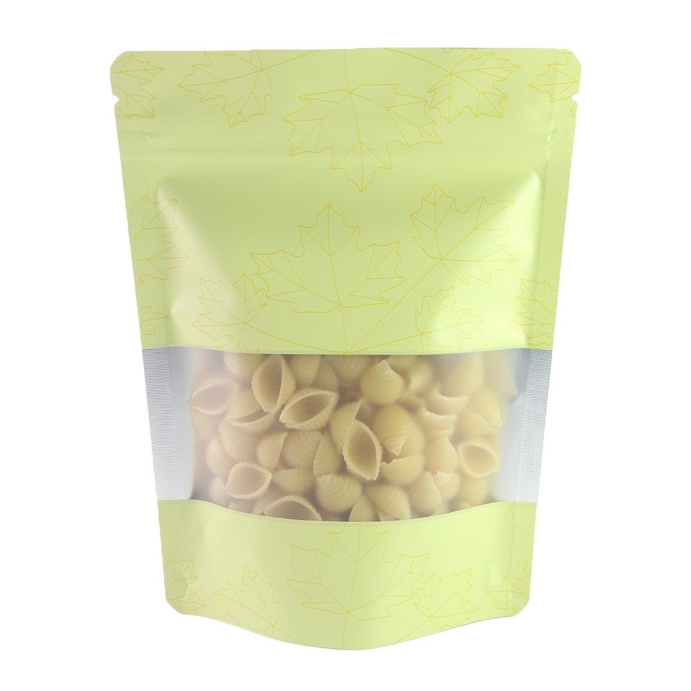 Matte Yellow Frosted Window Stand-Up Ziplock Bags w/ Maple Leaves Design 13 cm x 18 cm [5.1 inches x 7.1 inches] (500 Bags/Lot)