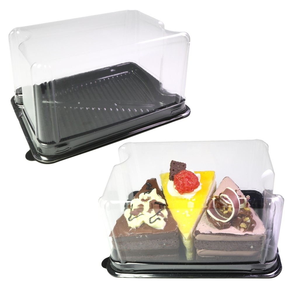 Long Clear Rectangular Dome Lid With Black Plastic Base Bakery Pastry Containers (600 Containers/Lot)