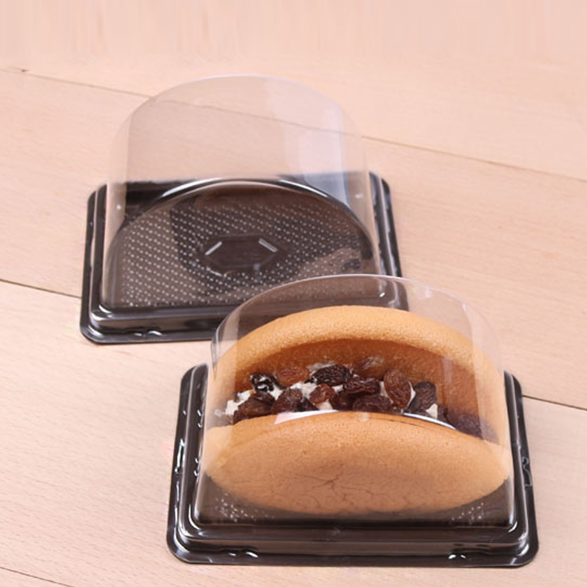Clear Half Cylinder Dome Lid With Black Plastic Base Bakery Pastry Containers (600 Containers/Lot)
