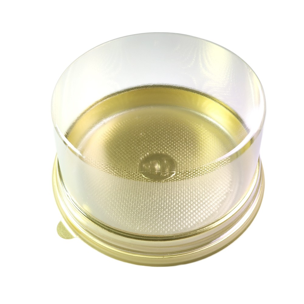 Large Clear Cylindrical Dome Lid With Gold Plastic Base Circular Pastry Containers (600 Containers/Lot)
