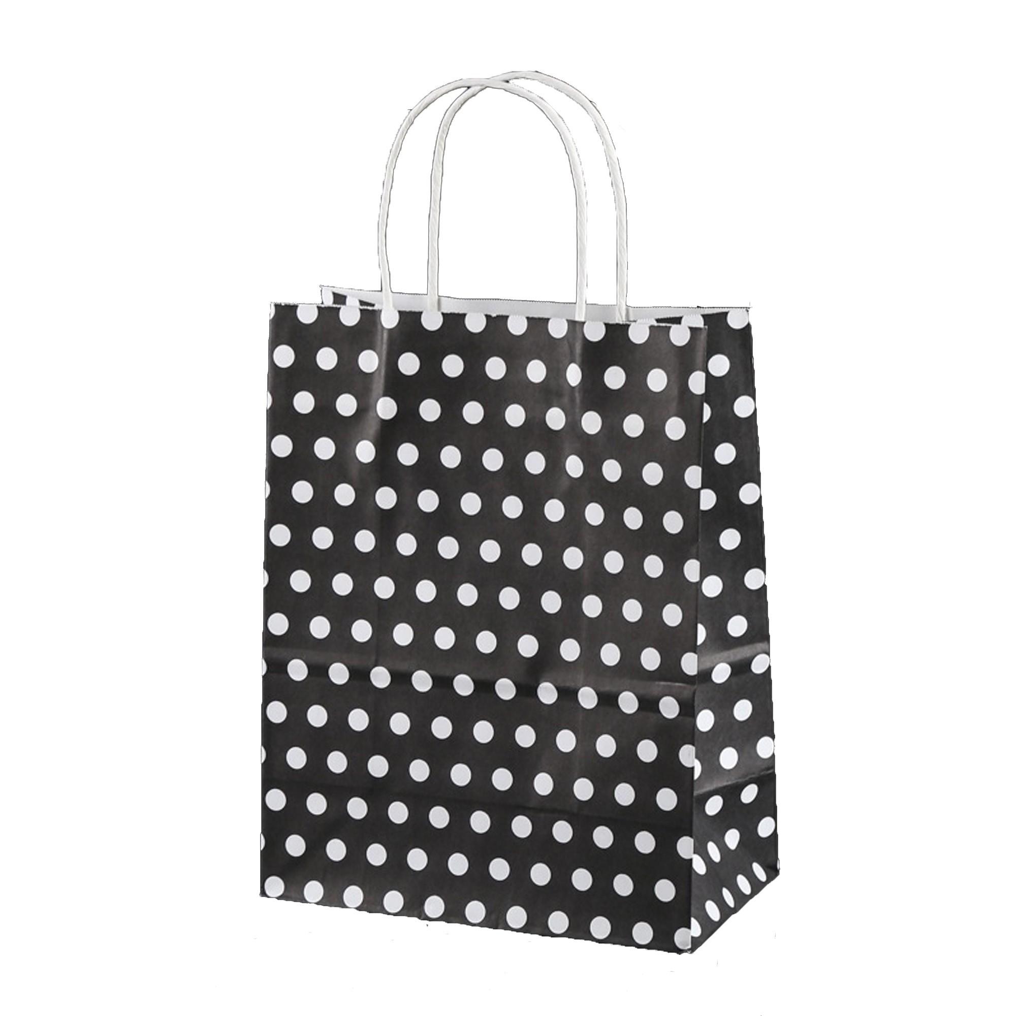 Black & White Polka Dot Paper Gift Bags 5.9 inch x 3.3 inch x 8.3 inch (36 Bags/Lot)