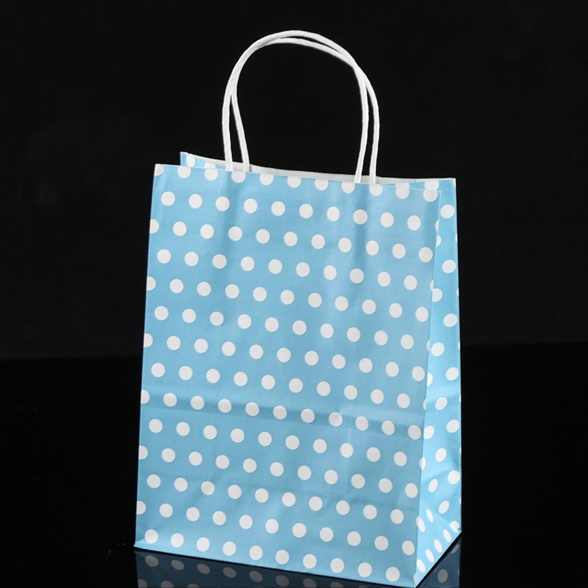 Blue & White Polka Dot Paper Gift Bags 5.9 inch x 3.3 inch x 8.3 inch (36 Bags/Lot)