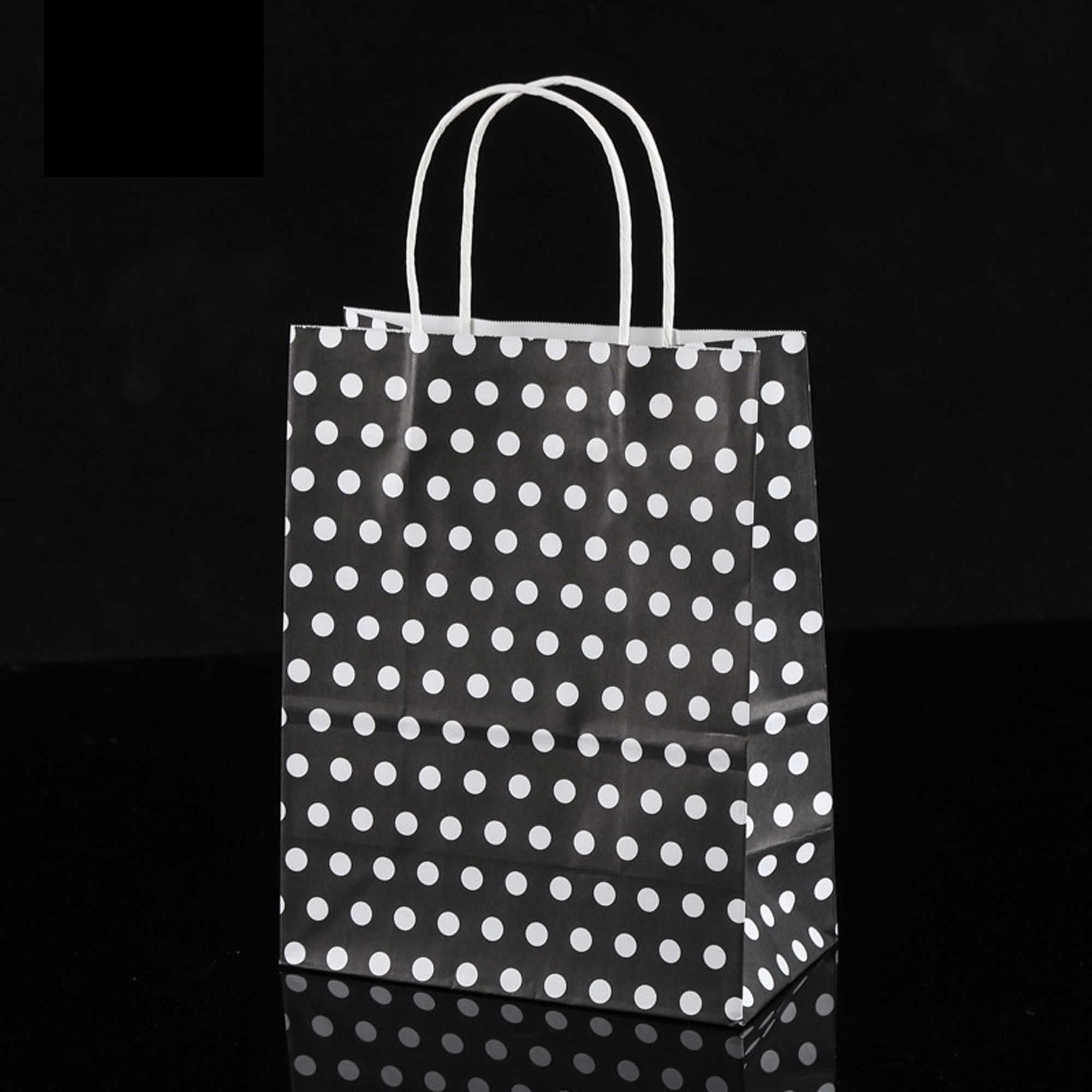 Black & White Polka Dot Paper Gift Bags 8.3 inch x 4.3 inch x 10.6 inch (36 Bags/Lot)