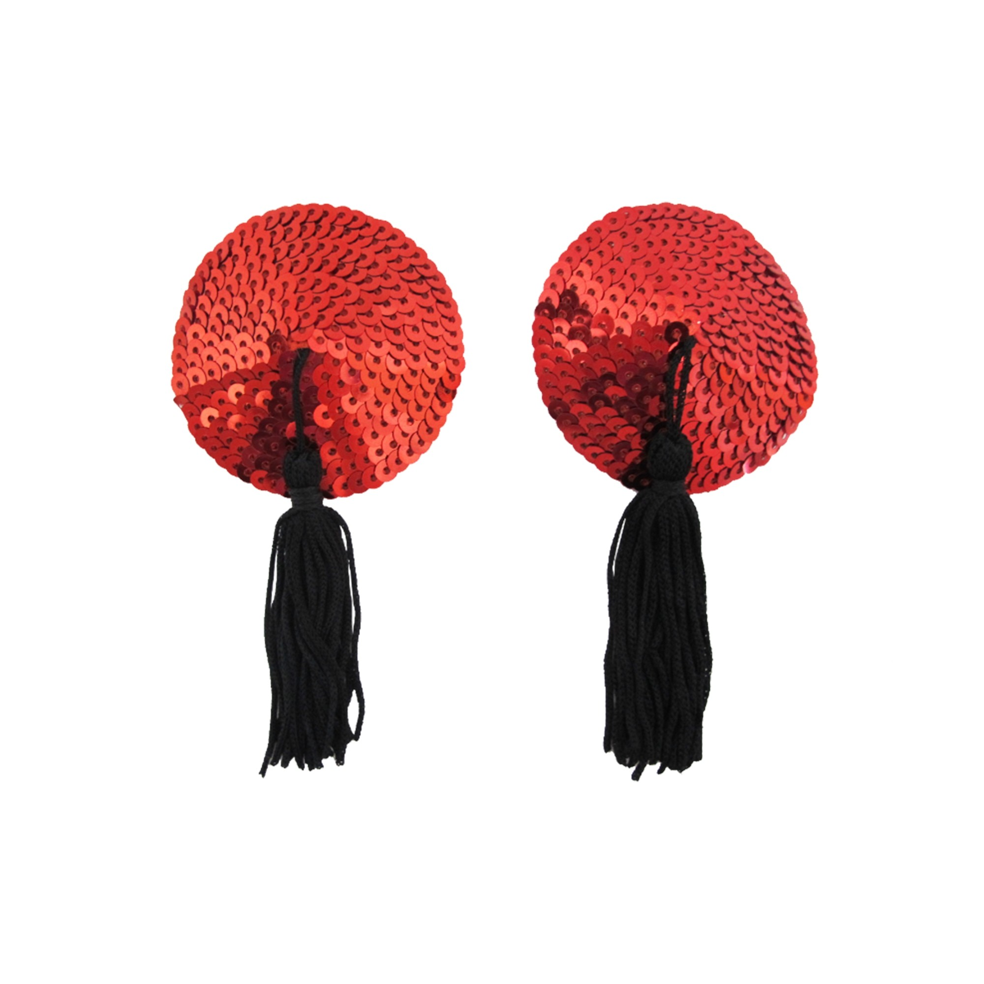 Red Round Sequin with Black Tassels Reusable Silicone Adhesive Nipple Cover (15 Pairs/Lot)