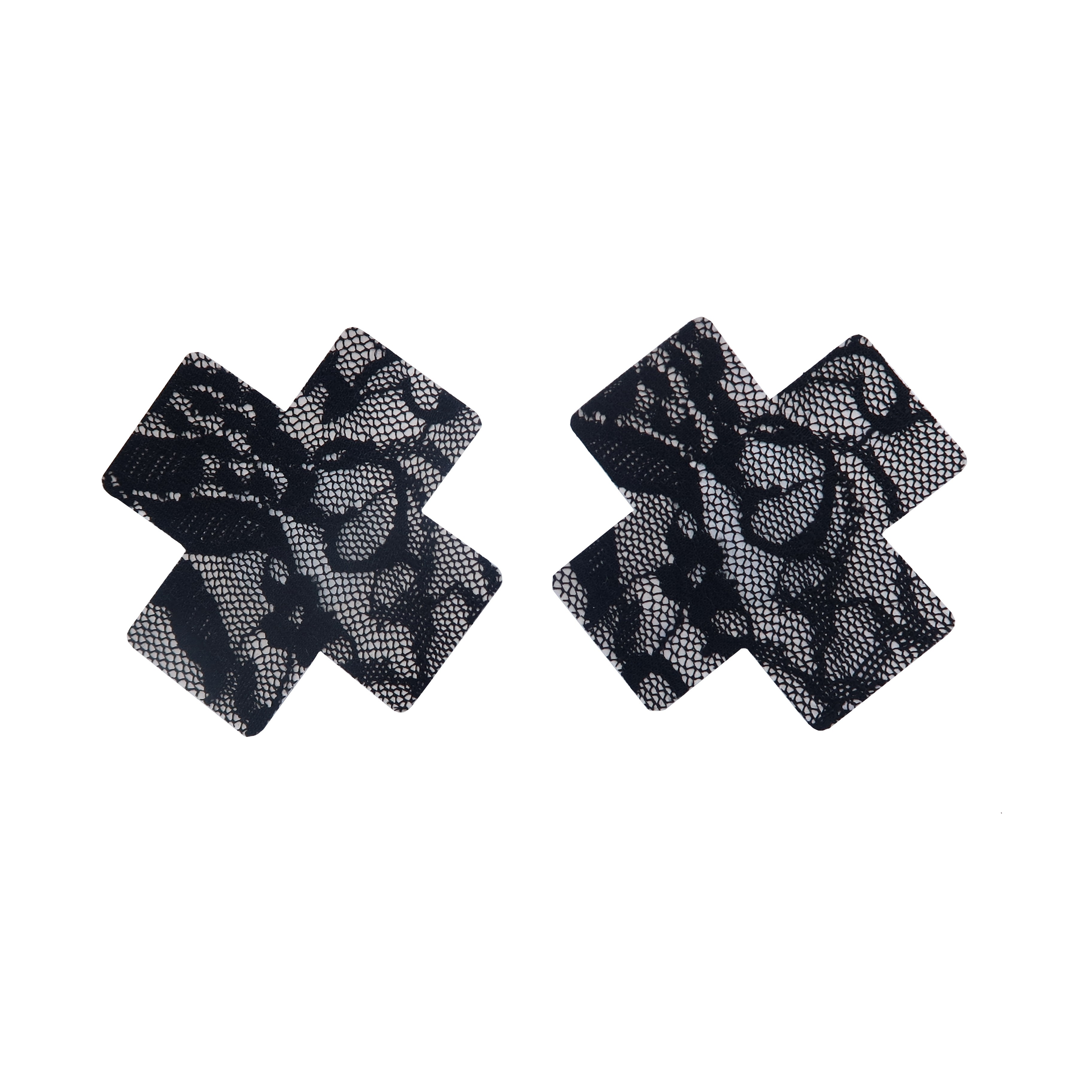 Black Lace Cross Shape Self-Adhesive Disposable Nipple Cover Pasties (25 Pairs/Lot)