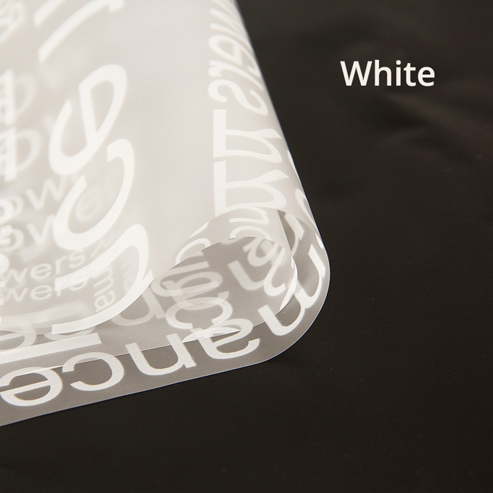 Clear Frosted With White Text Gift Flower Wrapping Paper 5 Packs