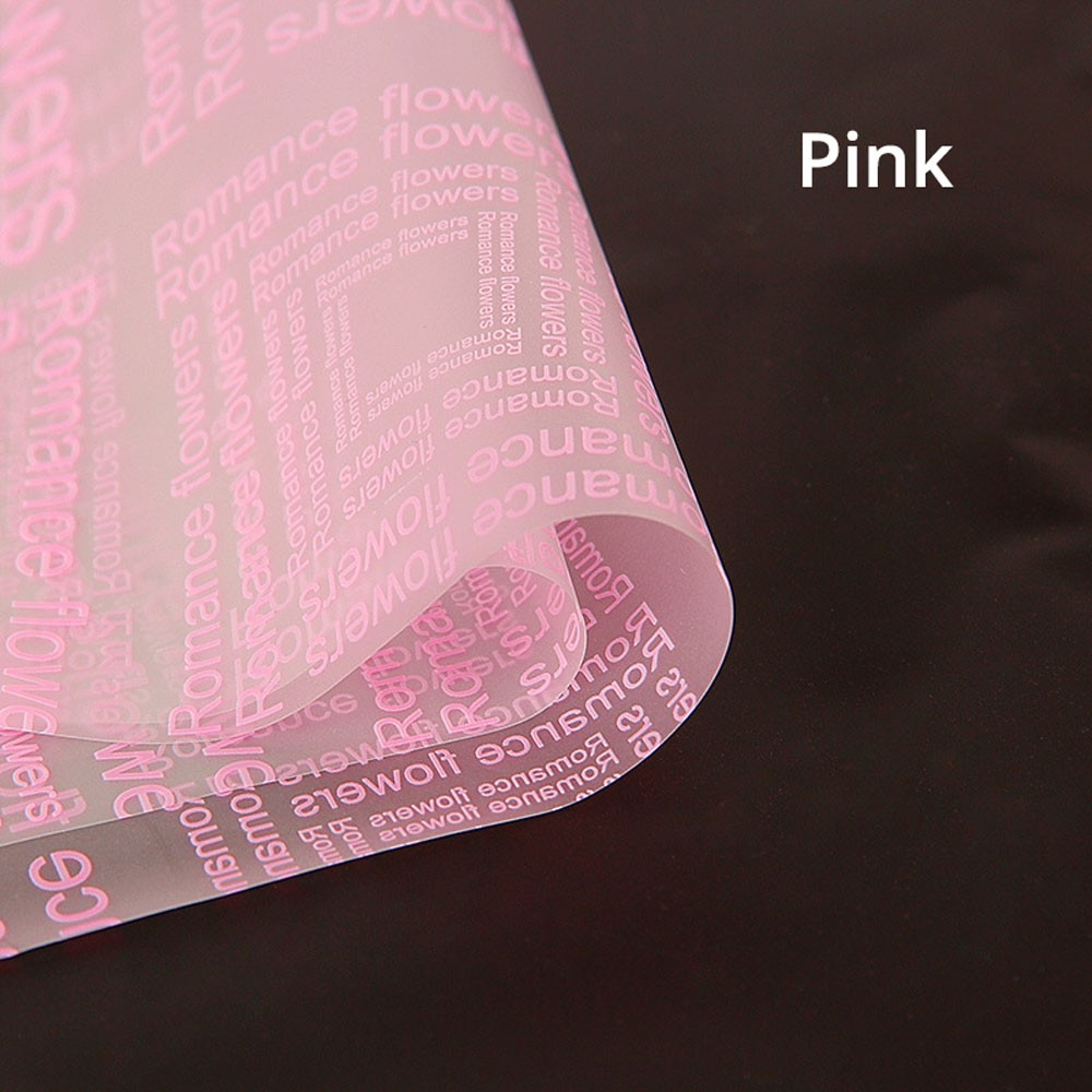 Clear Frosted With Pink Text Gift Flower Wrapping Paper 5 Packs Per