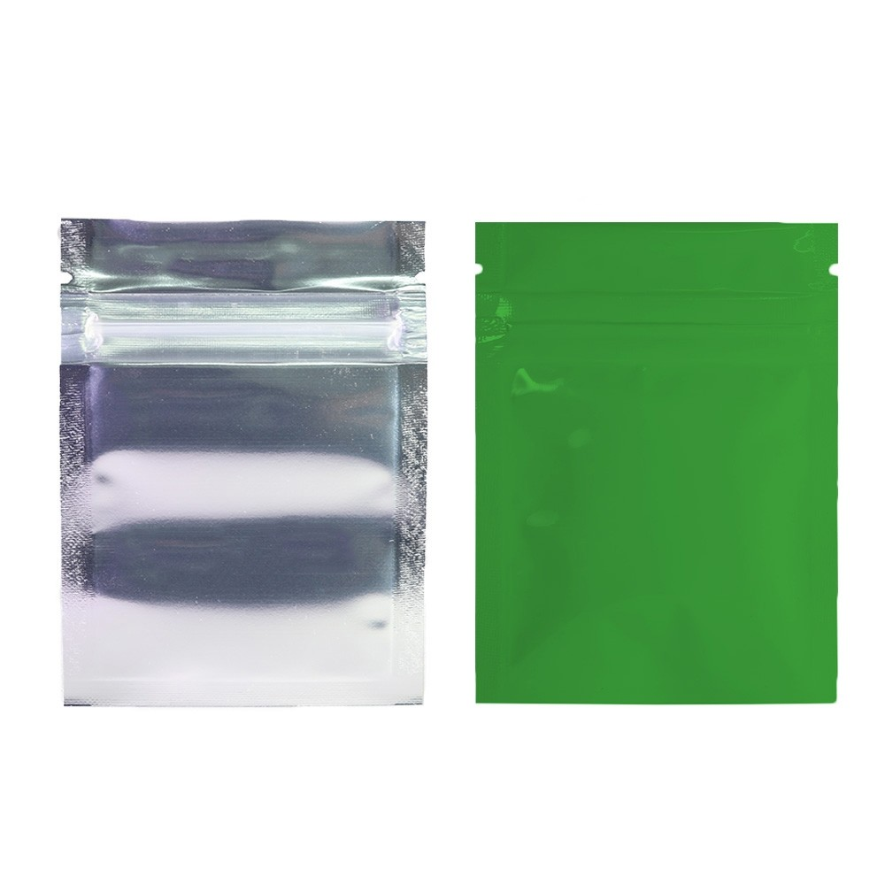 Clear Front/Silver/Green Back Flat Mylar Foil Ziplock Bags 6.5 cm x 9 cm [2.56 inches x 3.5 inches] (500 Bags/Lot)