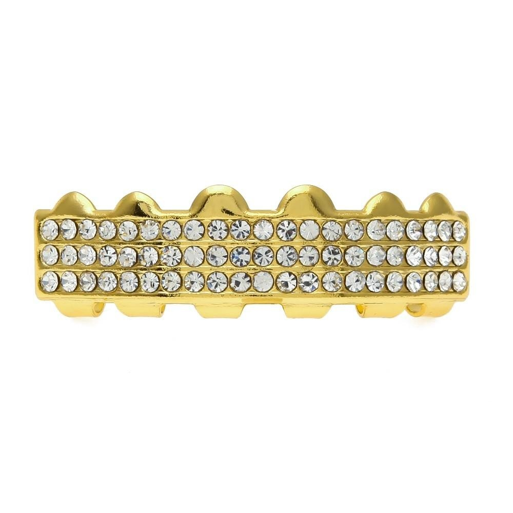 14K Gold Plated Iced Out Hip Hop Teeth Grillz (Top & Bottom Set Included)