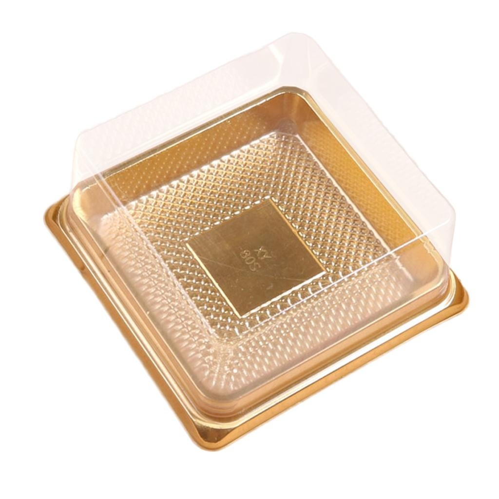 Square Gold Based w/ Clear Plastic Lid Mini Cake Containers Box (600 Containers/Lot)