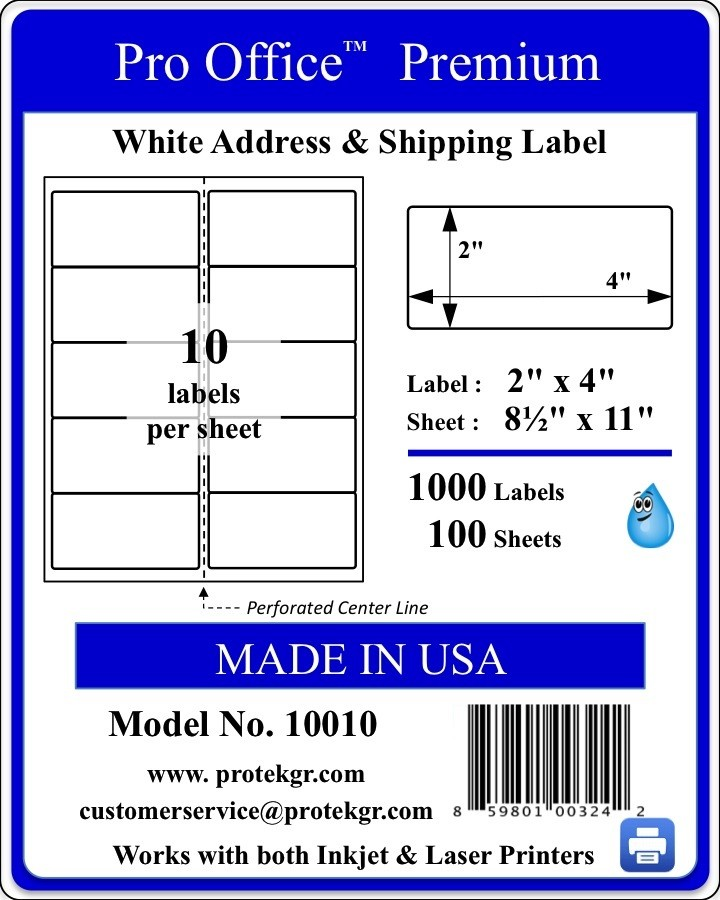 Pro Office 2.0 X 4.0 Premium Self Adhesive Shipping/Address Labels(1000 labels/Pack)