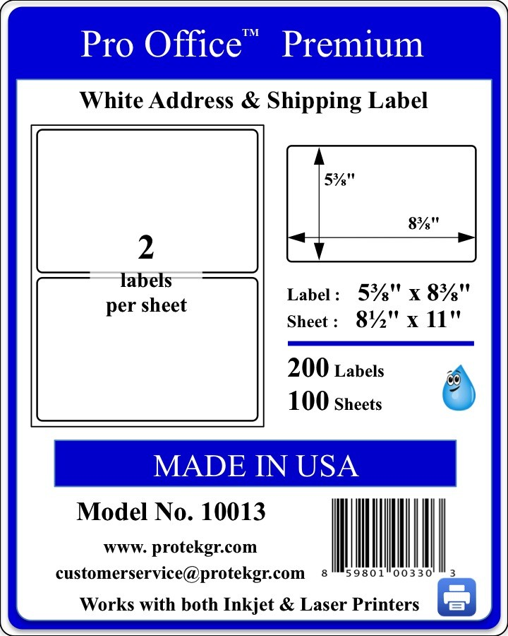 Pro Office 8.375 X 5.39 Premium Shipping Labels (200 labels/Pack)