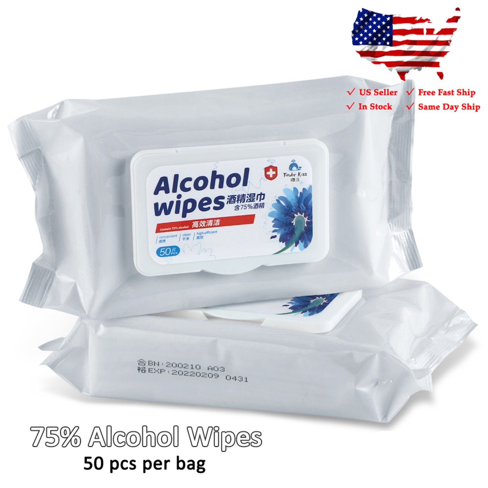 75% Alcohol Pure Clean Paper Wipes 150PCS For Hand & Surface NEW (3 Packs, 50 Sheets per Pack)