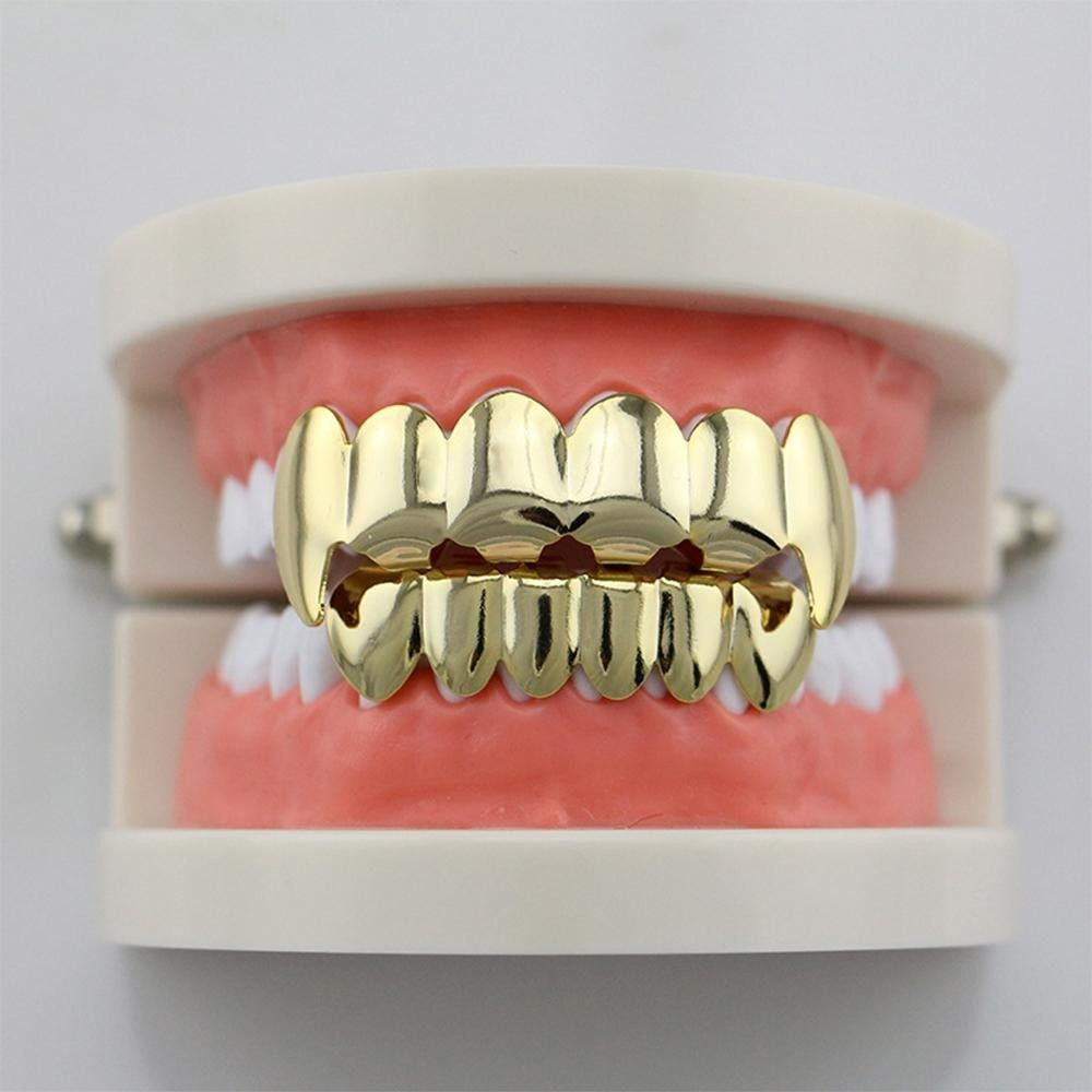 14K Gold Plated Vampire Fang Hip Hop Teeth Grillz (Top & Bottom Set Included)