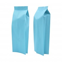 16oz Matte Blue Side Gusseted Coffee Storage Aluminum Bags with Degassing Valve (100 Bags/Lot)