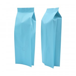 8oz Matte Blue Side Gusseted Coffee Storage Aluminum Bags with Degassing Valve (100 Bags/Lot)