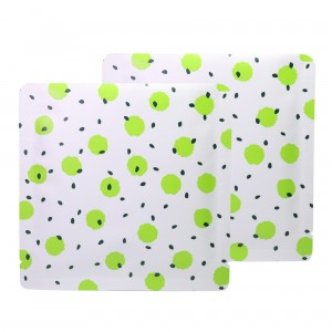 Double-Sided White & Green Polka Dot Aluminum Mylar Flat Open Top Bags 14 cm x 14 cm [5.5 inches x 5.5 inches] (500 Bags/Lot)