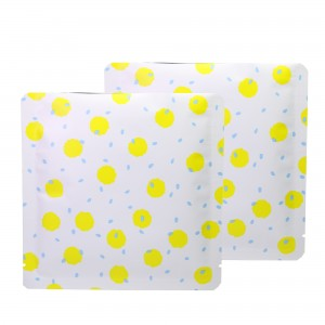 Double-Sided White & Yellow Polka Dot Aluminum Mylar Flat Open Top Bags 14 cm x 14 cm [5.5 inches x 5.5 inches] (500 Bags/Lot)