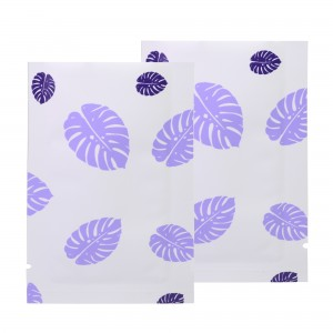 Double-Sided White & Purple Leaf Aluminum Mylar Flat Open Top Bags 8 cm x 12 cm [3.1 inches x 4.7 inches] (500 Bags/Lot)
