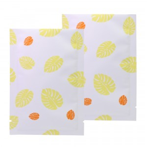 Double-Sided White & Yellow Leaf Aluminum Mylar Flat Open Top Bags 8 cm x 12 cm [3.1 inches x 4.7 inches] (500 Bags/Lot)