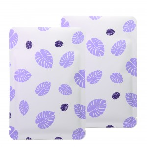 Double-Sided White & Purple Leaf Aluminum Mylar Flat Open Top Bags 12 cm x 18 cm [4.7 inches x 7.1 inches] (500 Bags/Lot)