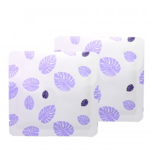 Double-Sided White & Purple Leaf Aluminum Mylar Flat Open Top Bags 14 cm x 14 cm [5.5 inches x 5.5 inches] (500 Bags/Lot)