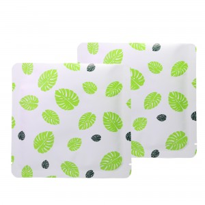Double-Sided White & Green Leaf Aluminum Mylar Flat Open Top Bags 14 cm x 14 cm [5.5 inches x 5.5 inches] (500 Bags/Lot)