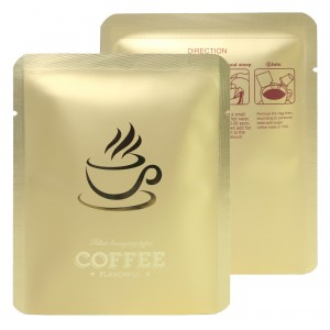 Gold Coffee Imprint Design Mylar Foil Flat Open Bottom Bags 10 cm x 12 cm [4 inches x 4.7 inches] (500 Bags/Lot)