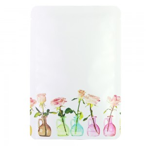 Flower Vase Design White Aluminum Mylar Round Corner Flat Open Filling Bags 12 cm x 18 cm [4.7 inches x 7.1 inches] (500 Bags/Lot)