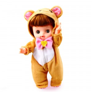10 Inch Baby Doll Inside A Bear Costume Outfit (1 Doll/Lot)