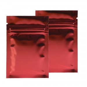 Red Shiny Metallic Mylar Ziplock Bags 6 cm x 9 cm [2.4 inches x 3.5 inches] (500 Bags/Lot)