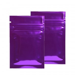 Purple Shiny Metallic Mylar Ziplock Bags 6 cm x 9 cm [2.4 inches x 3.5 inches] (500 Bags/Lot)