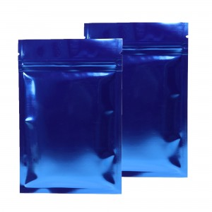 Blue Shiny Metallic Mylar Ziplock Bags 8.5 cm x 13 cm [3.3 inches x 5.1 inches] (500 Bags/Lot)