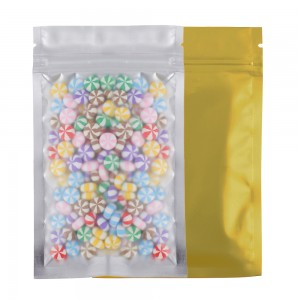 Translucent Front Gold Back Mylar Foil Ziplock Bags 8.5 cm x 13 cm [3.3 inches x 5.11 inches] (500 Bags/Lot)
