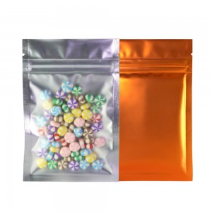 Translucent Front Orange Back Mylar Foil Ziplock Bags 8.5 cm x 13 cm [3.3 inches x 5.11 inches] (500 Bags/Lot)