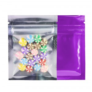 Clear Front/Silver/Purple Back Flat Mylar Foil Ziplock Bags 6.5 cm x 9 cm [2.56 inches x 3.5 inches] (500 Bags/Lot)