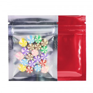 Clear Front/Silver/Red Back Flat Mylar Foil Ziplock Bags 6.5 cm x 9 cm [2.56 inches x 3.5 inches] (500 Bags/Lot)