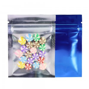 Clear Front/Silver/Blue Back Flat Mylar Foil Ziplock Bags 6.5 cm x 9 cm [2.56 inches x 3.5 inches] (500 Bags/Lot)