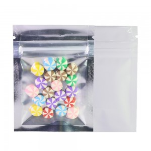 Clear Front/Silver/White Back Flat Mylar Foil Ziplock Bags 6.5 cm x 9 cm [2.56 inches x 3.5 inches] (500 Bags/Lot)