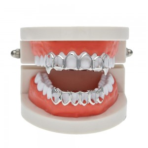 Silver Plated Hip Hop Teeth Grillz Open Face Fangs Top & Bottom Set